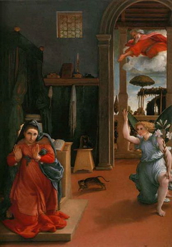 Благовещенье (Лоренцо Лотто, 1527-1528 г.)
