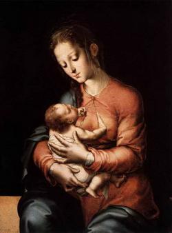 Богородица с Мланденцем (Л. Моралес)