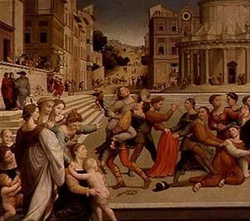 Фрагмент картины Похищение Дины (Джулиано Буджардини)