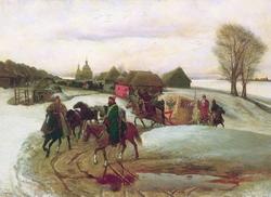 Вешний поезд царицы на богомолье при царе Алексее Михайловиче (Шварц В. Г., 1868)