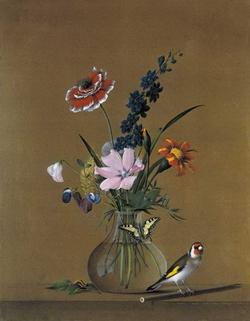 Букет цветов, бабочка и птичка (Толстой Ф. , 1820 г.)