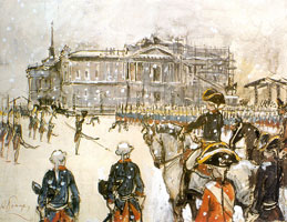 Парад при Павле I. 1907 г.