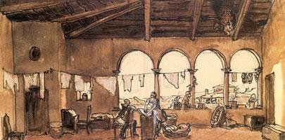 Интерьер с аркадой. 1913 г.