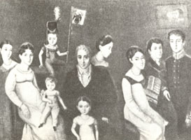 Л.Ж. Бенуа (дед А.Н. Бенуа) с женой и детьми. (Оливье, 1817 г.)