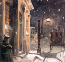 Германн у подъезда дома графини. 1910 г.