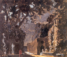 Сцена у фонтана (Замок Сандомирского воеводы). 1908 г.