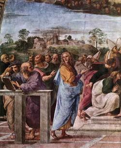 Левый край фрески La Disputa (Рафаэль)