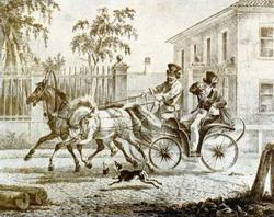 Щеголь на дрожках (Орловский А.О., литография, 1820 г.)