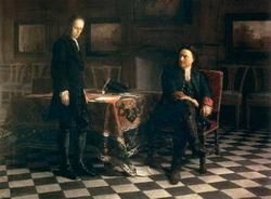Петр I допрашивает царевича Алексея Петровича в Петергофе (Ге Н.Н., 1871)