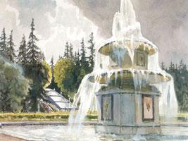Петергоф. Римские фонтаны у Шахматной горы. 1942 г.
