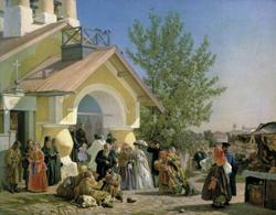 Выход из церкви во Пскове (А.И. Морозов, 1864 г.)