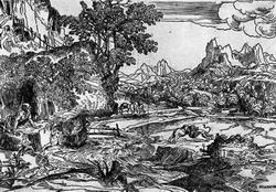 Святой Иероним в пустыне (Доменико Кампаньола, гравюра на дереве)