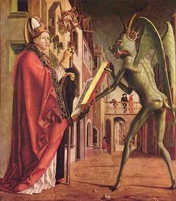 Святой Вольфганг заставляет черта держать перед ним молитвенник