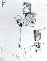А.М. Ремизов читает свои произведения на вечере 30 ноября 1907 года.