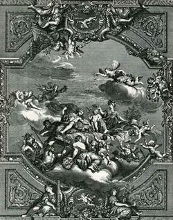 Аполлон и Минерва венчают юного гения Франции (П. Миньяр)