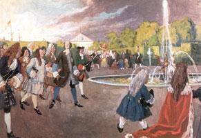 Петр I на прогулке в Летнем саду. 1910 г.