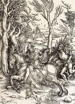 Рыцарь и ландкнехт (Альбрехт Дюрер, около 1500 года)