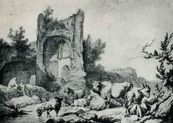 Стадо у руин (П. де Лутебург)