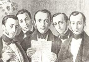 Групповой портрет братьев Бенуа (М.И. Снотти, 1847 г.)
