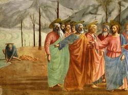 Левая половина фрески Il tributo в капелле Бранкаччи (Мазаччио)