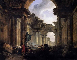 Фантазия на перспективу у большой галереи Лувра (Ю. Робер)