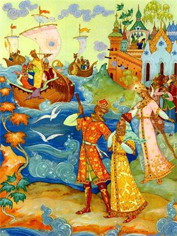 Флот царя Салтана (С.В. Малютин, иллюстрация)