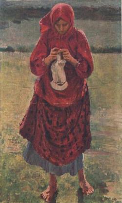 Крестьянская девушка с чулком (Ф.А. Малявин)