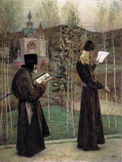 Под благовест (М.В. Нестеров, 1895)
