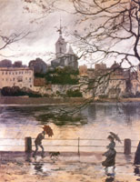 Набережная Рей на в Базеле в дождь. 1896 г.