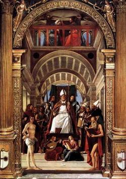 Святой Амвросий, окруженный другими святыми