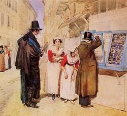 Жених, выбирающий серьги для невесты (Иванов А.А., 1838)