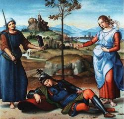 Сон рыцаря (Рафаэль, около 1500 г.)