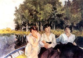 Племянница художника Надежда Леонтьевна и дочери Анна и Елена. В лодке.