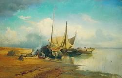 Вид на Волге. Барки (Васильев Ф.А., 1870)