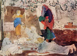 Авраам, принимающий трех странников (А.А. Иванов, 1850-е)