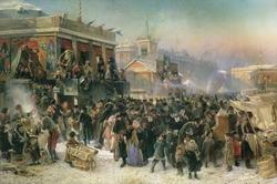 Народное гулянье во время масленицы на Адмиралтейской площади в Петербурге (Маковский К.Е., 1869)