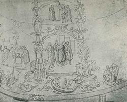 Рисунок XVII века с уничтоженной мозаики IV века, украшавшей тамбур церкви св. Констанцы