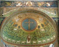 Св. Апполинарий в райском саду (мозаика 4 века)