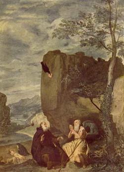 Святые отшельники Павел и Антоний (Веласкес)