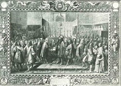 Возобновление союза со швейцарцами (По рисунку Ш. Лебрена)
