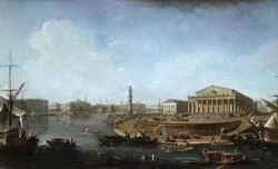 Вид на Биржу от Петро-Павловской Крепости (С.Ф. Щедрин, 1810)