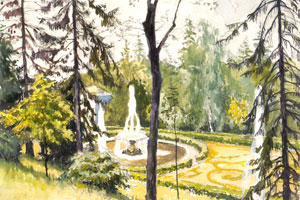 Петергоф. Нижний фонтан у каскада. 1942 г.