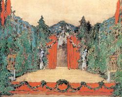 Эскиз декорации для постановки балета балета  «Сильфиды» («Шопениана»).