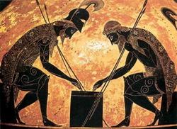 Ахилл и Аякс, играющие в кости (Экзекий)