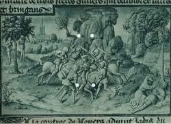 Чудо о трех конюших, ставших разбойниками (Миниатюра из рукописи 1456 г.)