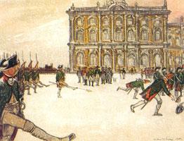 Развод караула перед Зимним дворцом при Павле I. 1903 г.