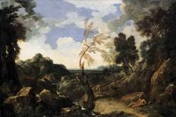 Ландшафт со святым Джеромом и Лионом (Гаспар Дюге)