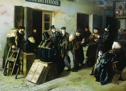 Шутники. Гостиный двор в Москве (Прянишников И.М., 1865)