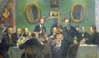 """Групповой портрет художников """"Мира искусства"""". (Б.М. Кустодиев, 1920 г.)"""