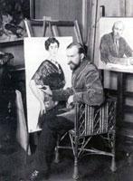 М.Б. Кустодиев в своей мастерской 1914 г.